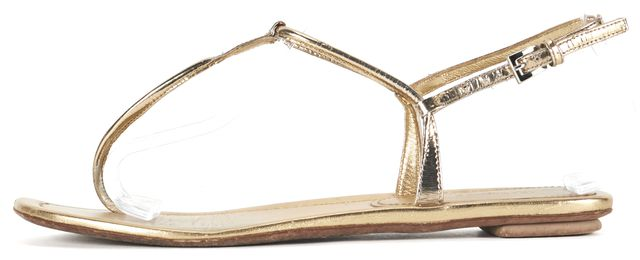 PRADA Gold Leather Flat T-Strap Thong Sandals