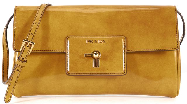 PRADA Yellow Spazzolato Patent Leather Crossbody Shoulder Bag