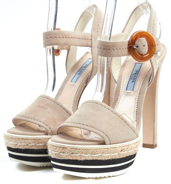 PRADA Beige Suede Leather Platform Espadrille Sandal Heels