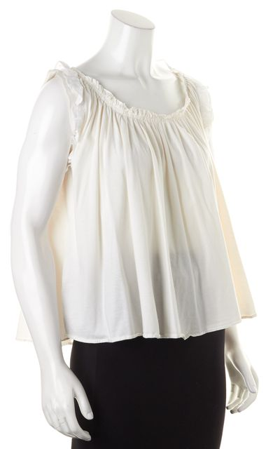 PRADA White Cotton Sleeveless Cutout Back Blouse Top