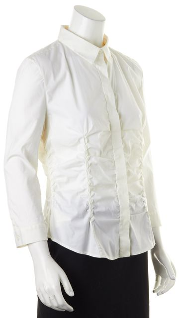 PRADA Ivory Long Sleeve Ruched Button Down Shirt Blouse