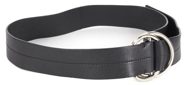 PRADA Black Leather Silver Hardware Belt