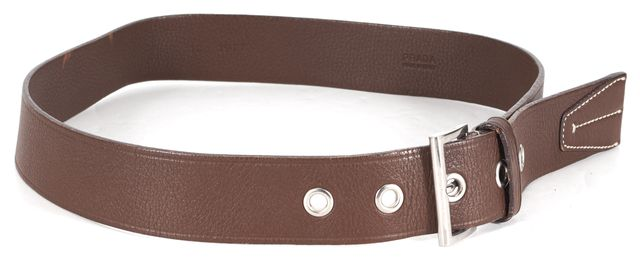 PRADA Brown Pebbled Leather Silver Hardware Belt