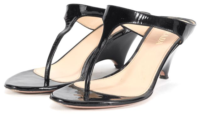 PRADA Black Patent Leather Slip-On Sandal Wedges
