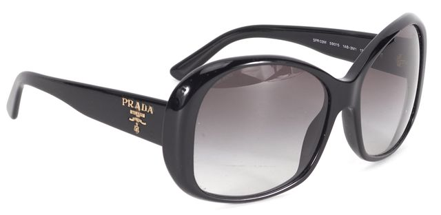 PRADA Black Rectangular Acetate Gradient Oversized Sunglasses