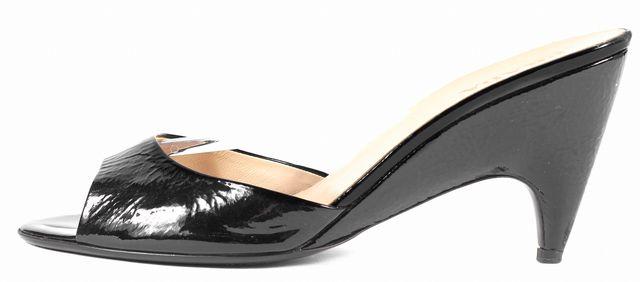 PRADA Black Patent Leather Slip-On Sandal Heels