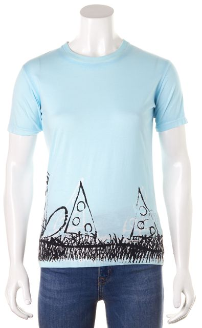 PRADA Blue White Black Cotton Jersey Short Sleeve Graphic Tee T-Shirt