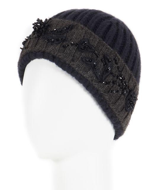 PRADA Navy Blue Gray Bead Embellished Wool Cashmere Beanie Hat