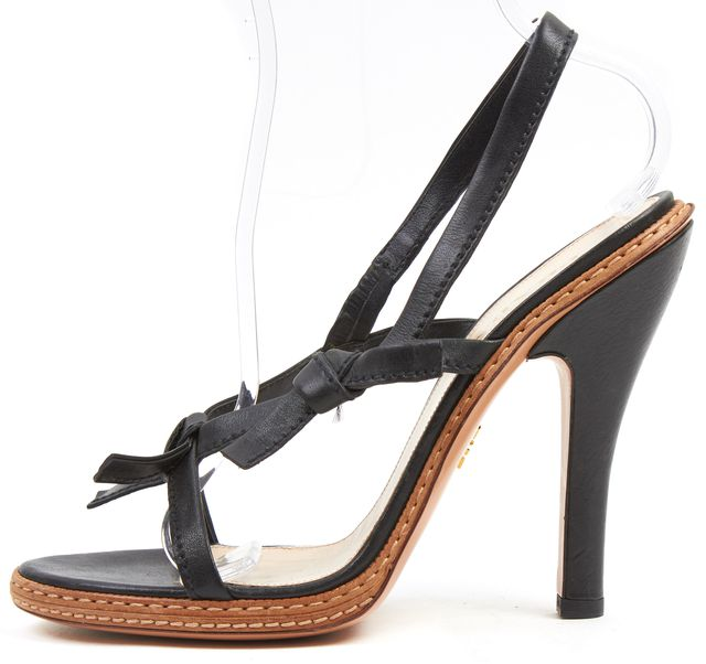 PRADA Black Leather Bow Embellished Slingback Sandal Heels