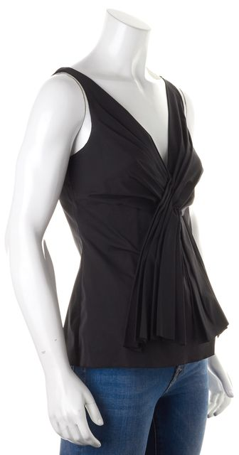 PRADA Black Sleeveless Draped V-Neck Blouse