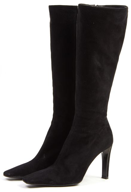 PRADA Black Suede Pointed Toe Heeled Knee-High Boots