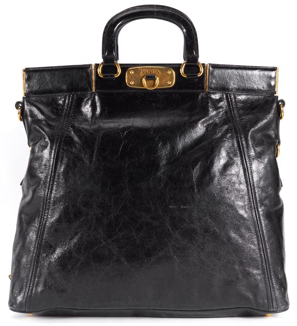 PRADA Black Leather Gold Hardware Large Top Handle Bag