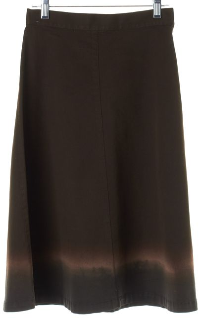 PRADA Brown Pink Ombre Knee-Length A-Line Skirt