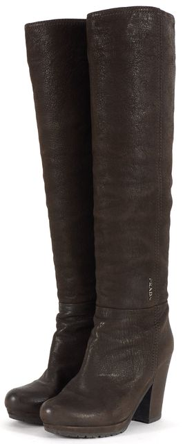 PRADA Chocolate Brown Leather Heeled Knee-High Boots