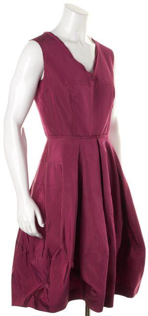 PRADA Maroon Red Silk Sleeveless V-Neck Fit Flare Bubble Hem Dress