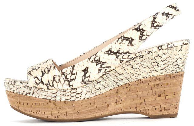 PRADA Ivory Reptile Printed Snakeskin Slingback Sandals Cork Wedges