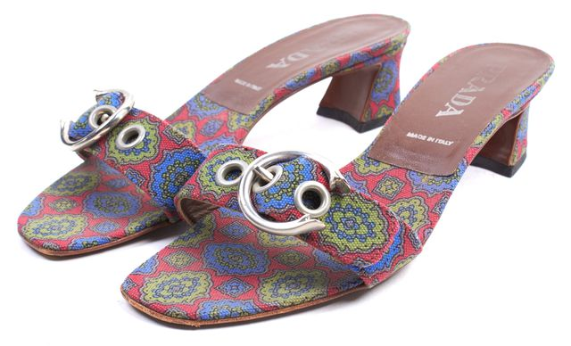 PRADA Red Blue Green Floral Canvas Slip-On Sandal Heels