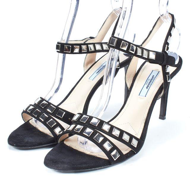 PRADA Black Silver Embellished Suede Ankle Strap Sandal Heels