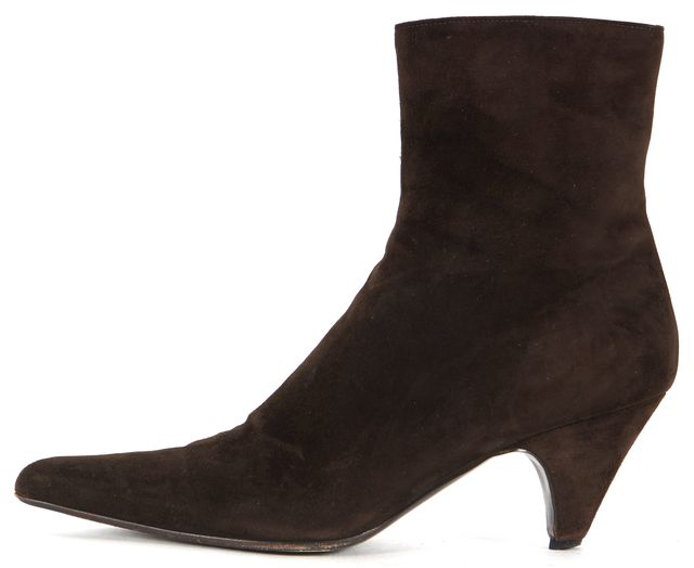 PRADA Dark Brown Suede Leather Pointed Toe Ankle Boots