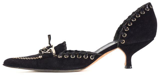 PRADA Dark Navy Blue White Suede Pointed Toe d'Orsay Kitten Heels