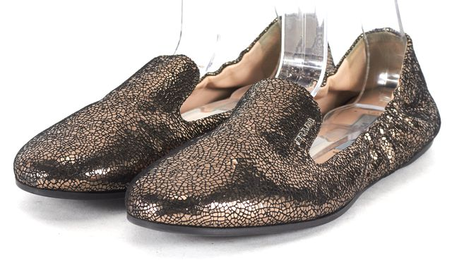 PRADA Gold Metallic Scale Embossed Leather Slipper Flats