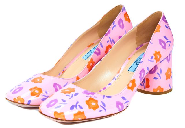 PRADA /NWB Pink Orange Floral Patent Leather Pumps