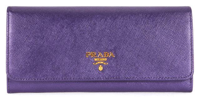 PRADA Purple Metallic Saffiano Leather Fold-Over Wallet