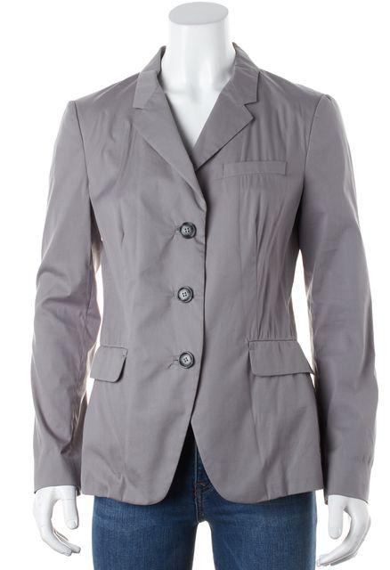 PRADA Gray Light Weight Cotton Three Button Blazer Jacket
