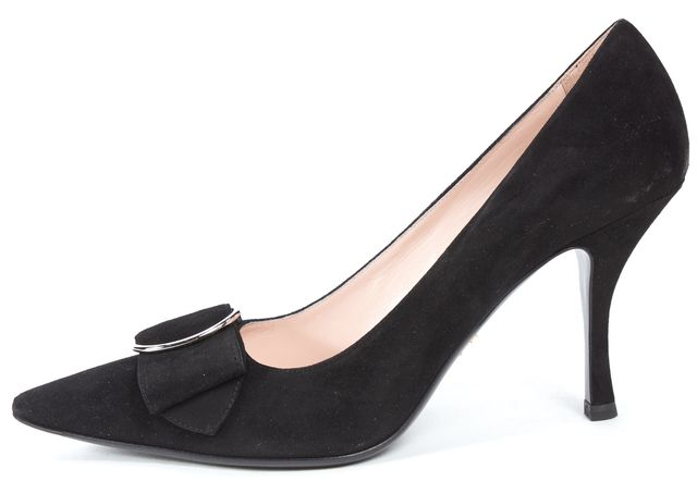 PRADA Black Buckle Embellished Suede Pointed Toe Heels
