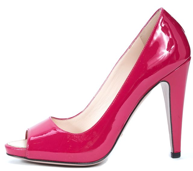 PRADA Magenta Pink Patent Leather Open Toe Pump Heels
