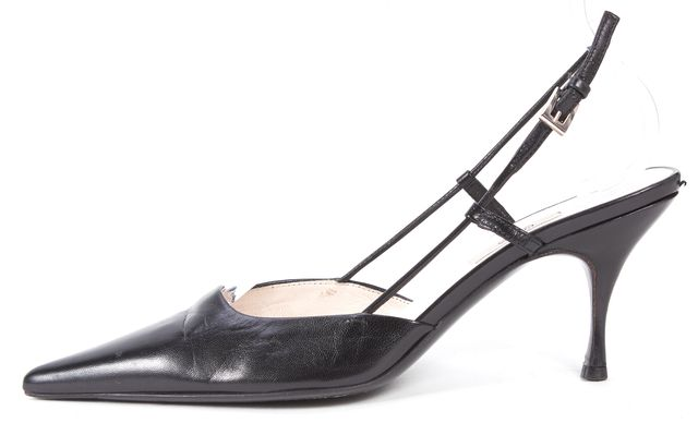PRADA Black Leather Pointed Toe Slingback Heels