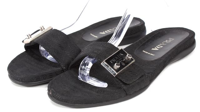 PRADA Black Monogram Canvas Flat Slip-On Sandals