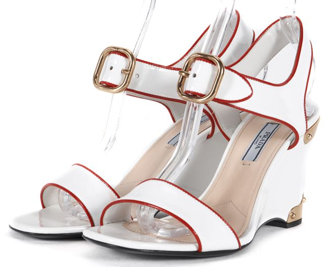 PRADA White Red Patent Leather Gold Hardware Sandal Wedges