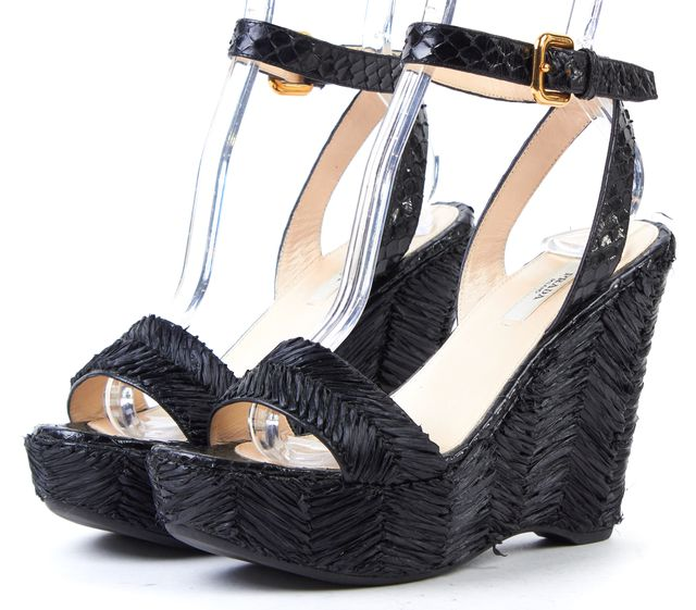 PRADA Black Raffia Snakeskin Leather Sandal Wedges