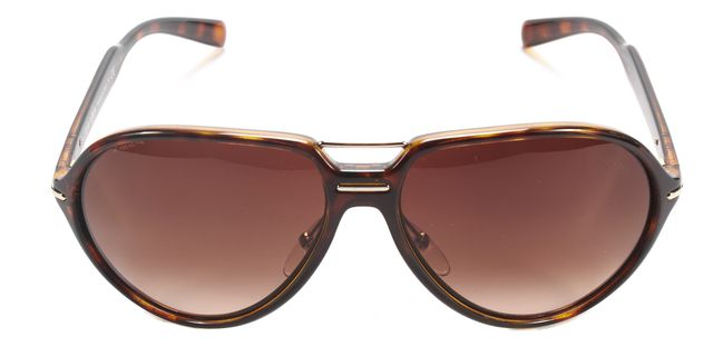 PRADA Brown Tortoise Acetate Frame Aviator Sunglasses