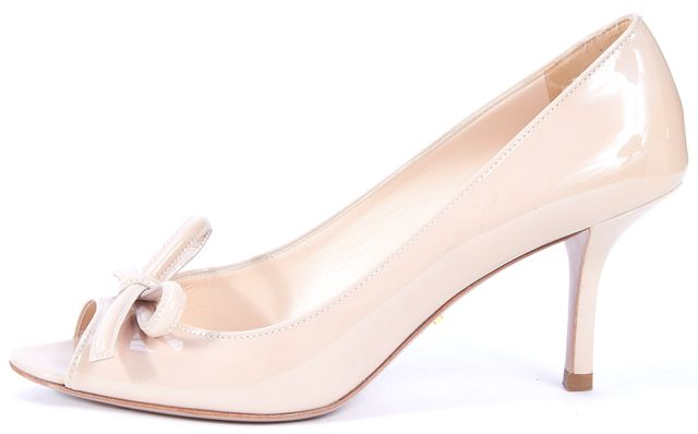 PRADA Cipria Beige Patent Leather Bow Open Toe Heels