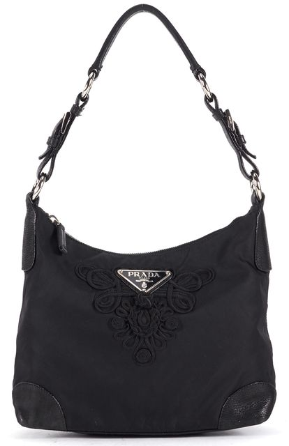 PRADA Black Embroidered Tessuto Nylon Leather Trim Shoulder Bag