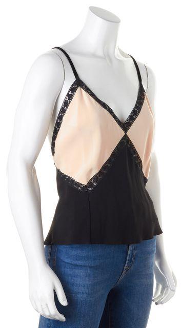 PRADA Pink Black Lace Trim Colorblock Silk Blouse
