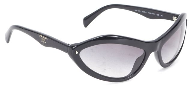 PRADA Black Acetate Gradient Oval Cat Eye Sunglasses w/ Case