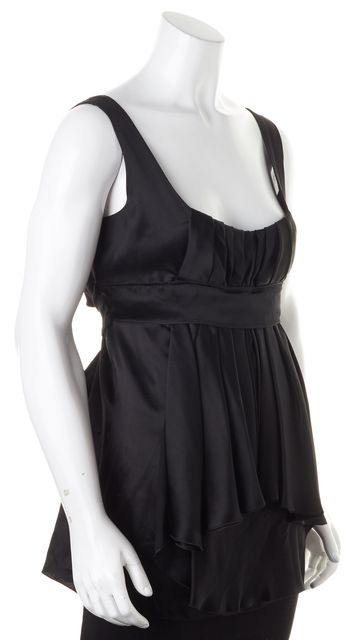 PRADA Black Silk Pleated Empire Waist Tie Back Blouse