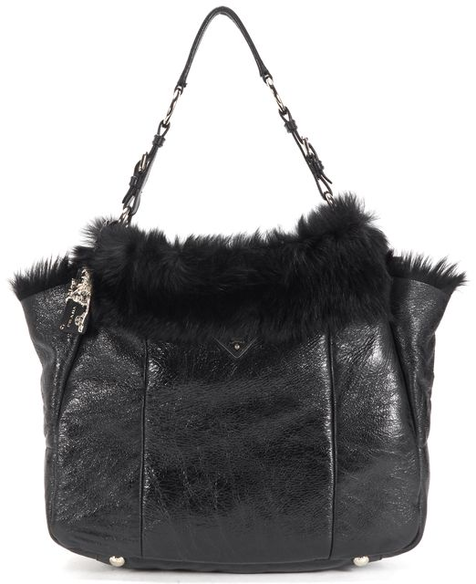 PRADA Black Leather Dyed Sheep Fur Lined Tote Shoulder Bag