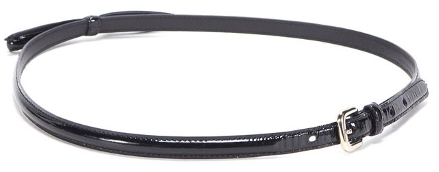 PRADA Black Patent Leather Bow Skinny Belt