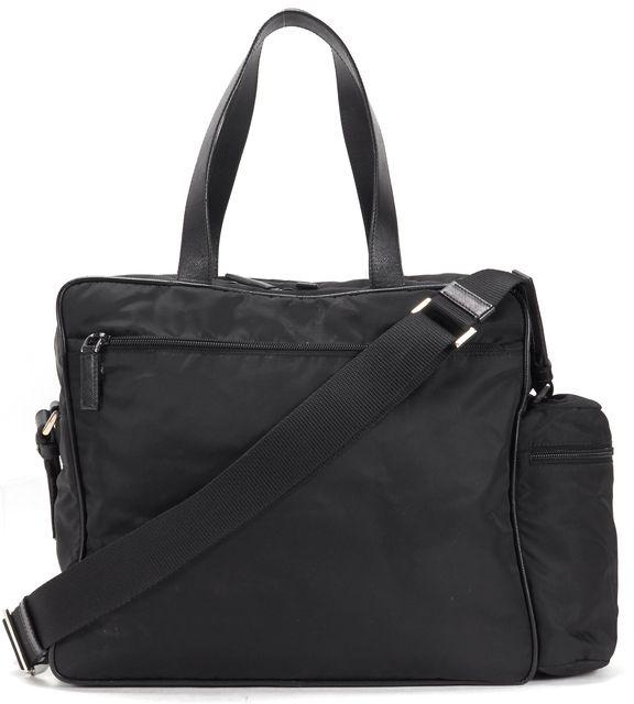 PRADA Black Nylon Leather Trim Multi-Compartment Crossbody Diaper Bag