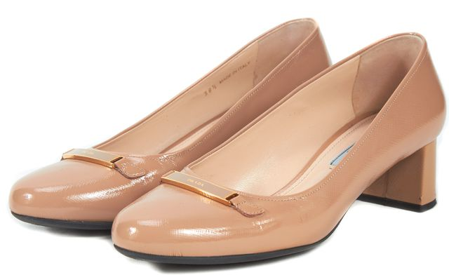 PRADA Beige Patent Saffiano Leather Round Toe Pump Heels
