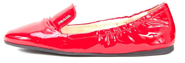 PRADA Red Patent Leather Loafer Ballet Flats