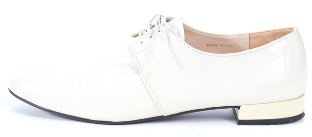 PRADA Ivory Patent Leather Lace-Up Oxfords