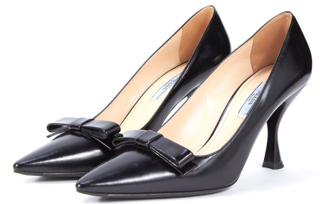 PRADA Black Leather Bow Embellished Pointed Toe Heels