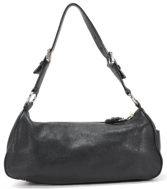 PRADA Black Pebbled Leather Silver-Tone Hardware Shoulder Bag