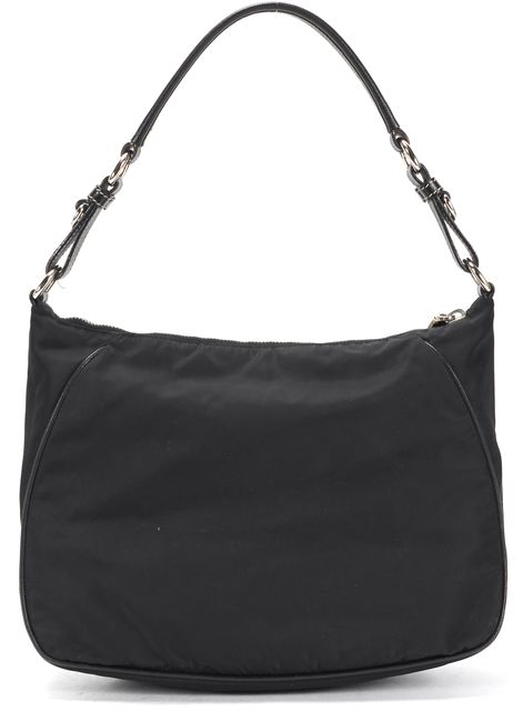 PRADA Black Tessuto Nylon Leather Trim Shoulder Bag