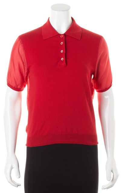 PRADA Red Short Sleeve Knit Panel Polo Shirt Blouse